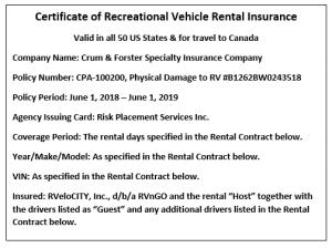 Certificate of Insurance RVnGO